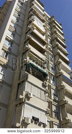 modern new skyscrapers of macedonian capitol skopje poster