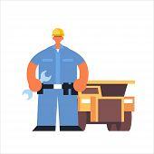 male technician mechanic wearing hard hat busy workman holding wrench industrial construction worker in uniform building car cervice concept flat full length poster