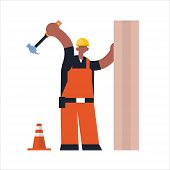 male builder using hammer busy african maerican workman industrial construction carpenter worker in uniform hammering a nail in wooden plank building concept flat full length poster