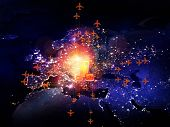 Rendering of city light map (courtesy of NASA) abstract lights and symbols on the subject of global transportation travel mail and shipping poster