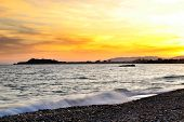 Beautiful Sunset on Mojon beach in Isla Plana, Cartagena, Murcia,Spain. poster