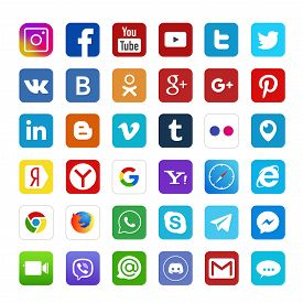Set Of Popular Social Media Logos: Instagram, Facebook, Twitter, Youtube, Whatsapp, Linkedin, Pinter