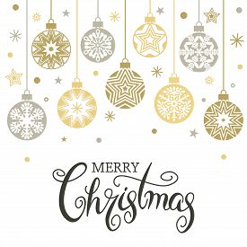 Christmas Card Or Banner. Hanging Christmas Balls Of Garlands And Stars. Congratulatory Text. Christ