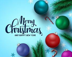 Merry Christmas Greeting Card Vector Background. Merry Christmas And Happy New Year Typography Text