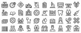 Family Health Clinic Icons Set. Outline Set Of Family Health Clinic Vector Icons For Web Design Isol