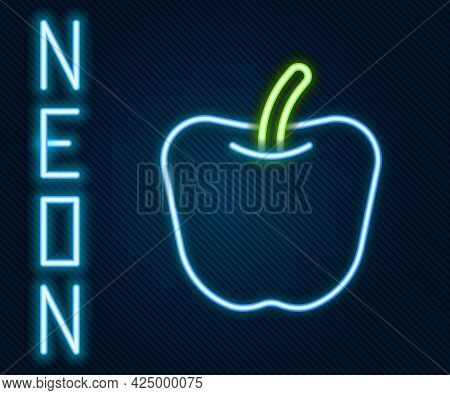 Glowing Neon Line Apple Icon Isolated On Black Background. Excess Weight. Healthy Diet Menu. Fitness