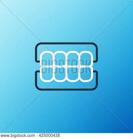 Line False Jaw Icon Isolated On Blue Background. Dental Jaw Or Dentures, False Teeth With Incisors.