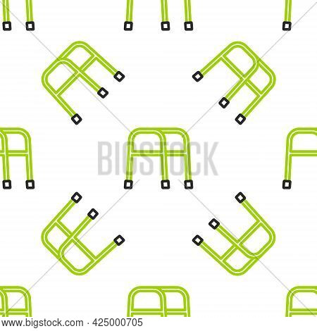 Line Walker For Disabled Person Icon Isolated Seamless Pattern On White Background. Vector