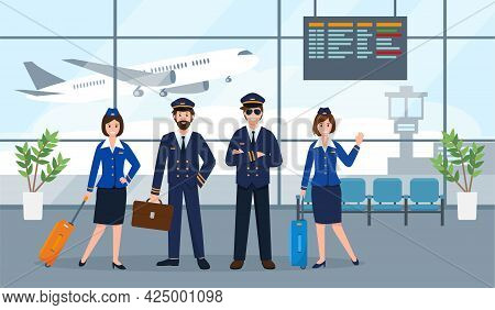 Airplane Staff Or Crew At The Airport Hall. Aircraft Captain, Pilot Assistant And Stewardesses In Un