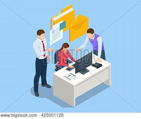 Isometric File In Database Concept. Businessman Working Reading Documents Graph Financial To Job Suc
