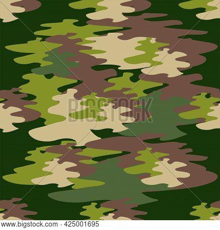 Abstract Khaki Pattern For Cloth Design. Seamless Fashion Wallpaper. Grunge Fashion Background.