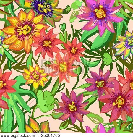 Tropic Exotic Flowers Seamless Pattern. Passiflora, Orchid, Plumeria. Isolated In Light Background W