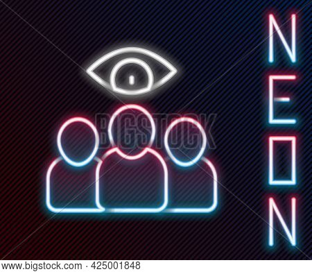 Glowing Neon Line Spy, Agent Icon Isolated On Black Background. Spying On People. Colorful Outline C