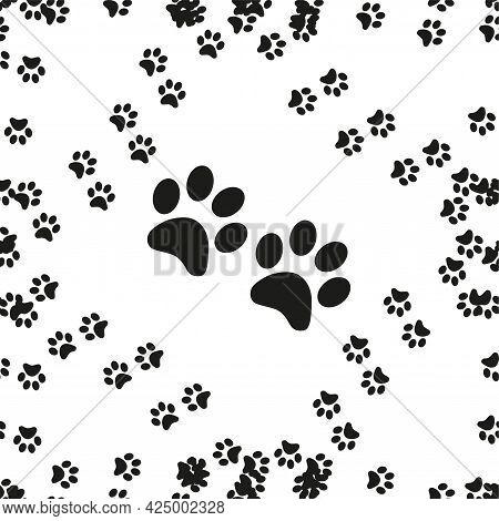 Animal Footprint Seamless Pattern. Footprints Of A Cat