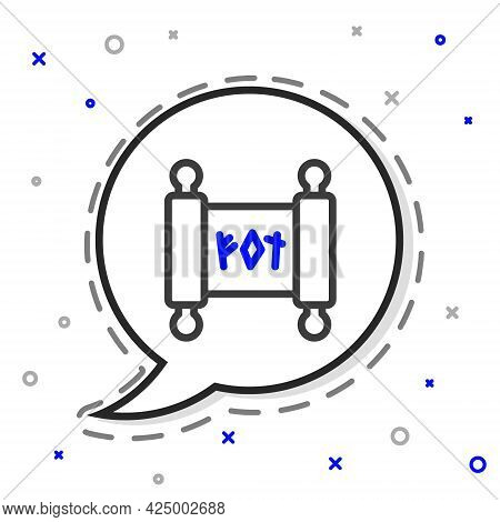 Line Magic Scroll Icon Isolated On White Background. Decree, Paper, Parchment, Scroll Icon. Colorful