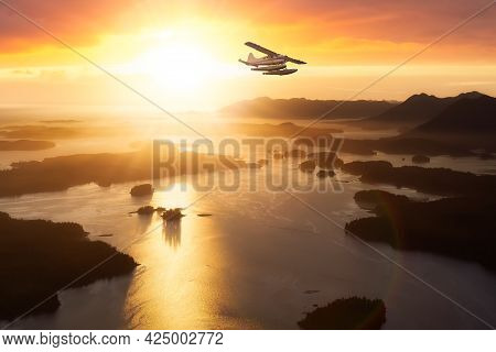 Tofino, Vancouver Island, British Columbia, Canada. Colorful Sunset Sky Art Render. Aerial View From