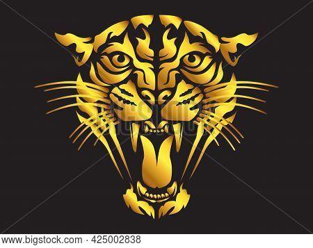 Puma Angry Face Tattoo. Vector Illustration Of Lion Head. Safari Print.