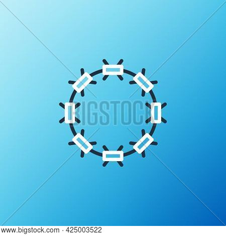 Line Crown Of Thorns Of Jesus Christ Icon Isolated On Blue Background. Religion, Bible, Christianity