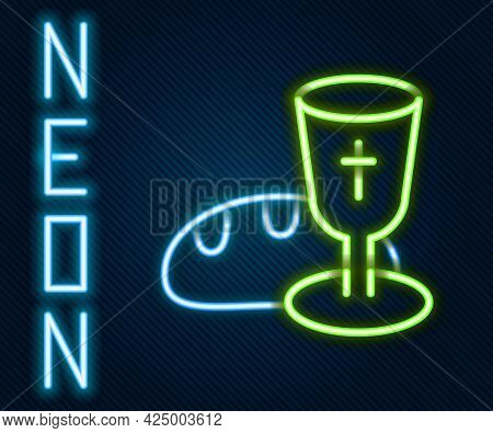 Glowing Neon Line Goblet And Bread Icon Isolated On Black Background. Bread And Wine Cup. Holy Commu