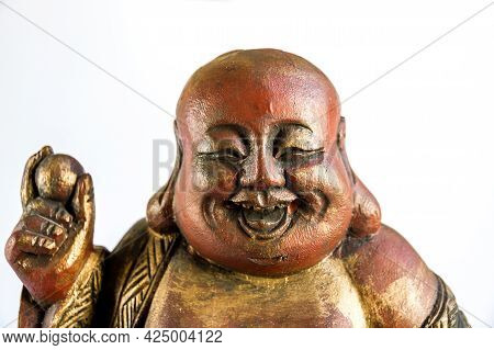Tradional Wooden Statue Of Chinese Buddha Isolated On White Background