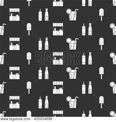 Set Cocktail, Ice Cream, Street Stall With Awning And Sauce Bottle On Seamless Pattern. Vector