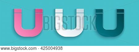 Paper Cut Magnet Icon Isolated On Blue Background. Horseshoe Magnet, Magnetism, Magnetize, Attractio
