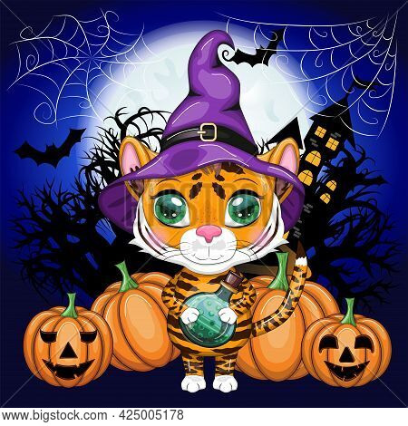 Cute Cartoon Tiger With Beautiful Eyes, Orange In A Purple Cloak And Witch's Hat, With A Broom And P