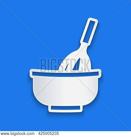 Paper Cut Kitchen Whisk With Bowl Icon Isolated On Blue Background. Cooking Utensil, Egg Beater. Cut