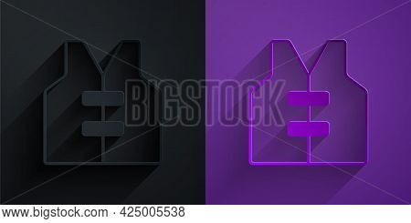 Paper Cut Life Jacket Icon Isolated On Black On Purple Background. Life Vest Icon. Extreme Sport. Sp