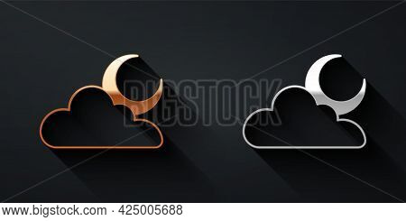 Gold And Silver Cloud With Moon Icon Isolated On Black Background. Cloudy Night Sign. Sleep Dreams S