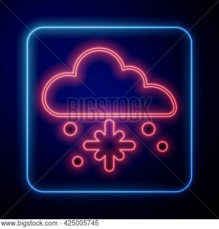 Glowing Neon Cloud With Snow Icon Isolated On Black Background. Cloud With Snowflakes. Single Weathe