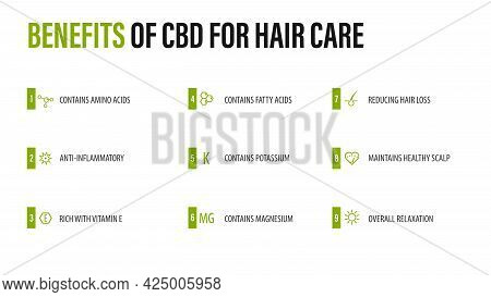 Benefits Of Cbd For Hair Care, White Infographic Poster With Icons Of Medical Benefits