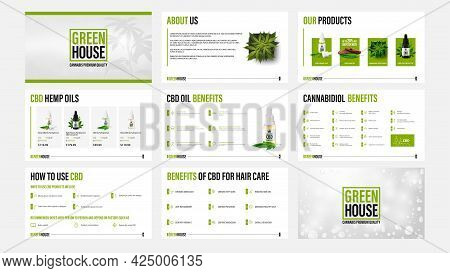 Cbd Oil Products Presentation Templates With Infographic Elements.