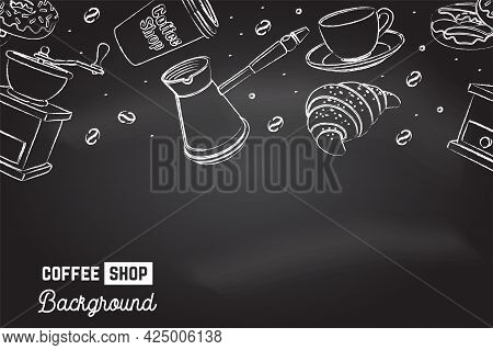 Seamless Pattern For Coffee Shop, Restaurant, Cafe, Bar. Cafe Menu Background. Vector. Coffee, Crois