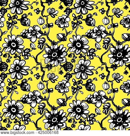 Black Daisies, Dahlias Flower Seamless Pattern On Yellow Background. Daisy Field. Ditsy Floral Patte