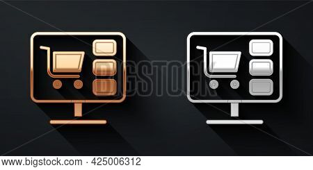 Gold And Silver Shopping Cart On Screen Computer Icon Isolated On Black Background. Concept E-commer