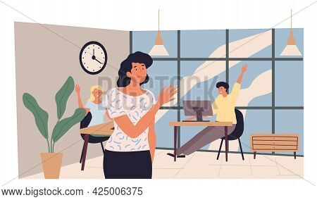 Young Woman Leaving Office And Saying Goodbye To Colleagues. She Going Home After A Day At The Offic