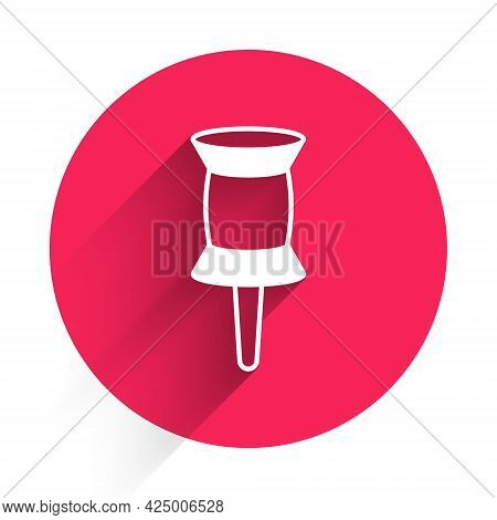 White Push Pin Icon Isolated With Long Shadow. Thumbtacks Sign. Red Circle Button. Vector