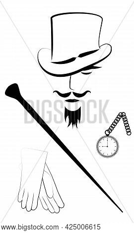 Gentleman In Hat With Cane, Watch And Gloves, Isolated