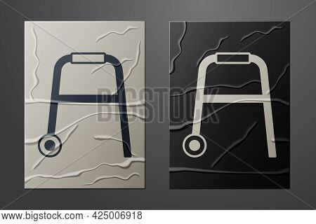 White Walker For Disabled Person Icon Isolated On Crumpled Paper Background. Paper Art Style. Vector