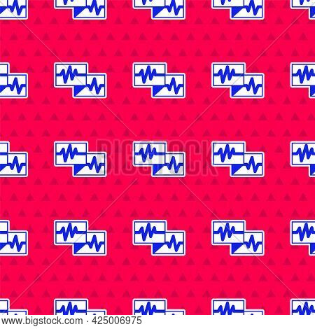 Blue Computer Monitor With Cardiogram Icon Isolated Seamless Pattern On Red Background. Monitoring I