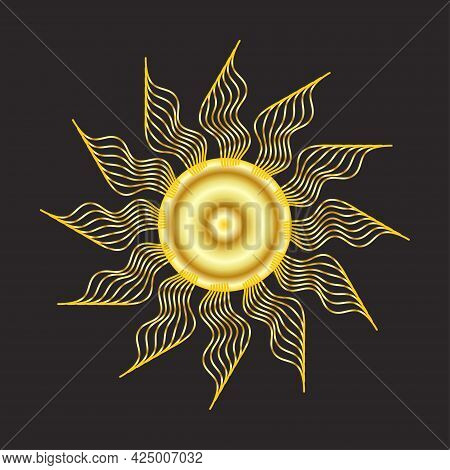 Mystical Golden Boho Tattoos With Sun, Crescent, Stars And Clouds. Linear Design, Hand-drawing. Elem