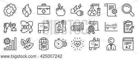 Set Of Science Icons, Such As Technical Documentation, Organic Tested, Vaccine Report Icons. Electro