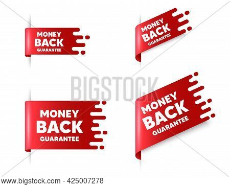 Money Back Guarantee. Red Ribbon Tag Banners Set. Promo Offer Sign. Advertising Promotion Symbol. Mo