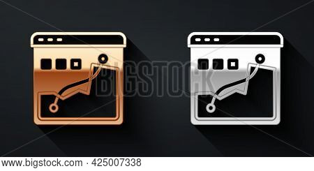 Gold And Silver Histogram Graph Photography Icon Isolated On Black Background. Long Shadow Style. Ve