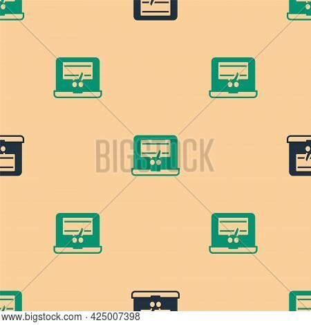 Green And Black Video Recorder Or Editor Software On Laptop Icon Isolated Seamless Pattern On Beige