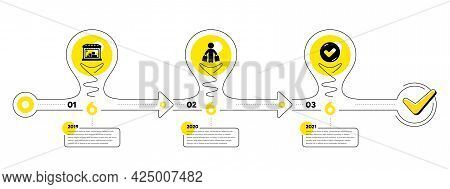 Trade Infographic Timeline With 3 Steps. Shopping Process Diagram With Trade Store, Shopper With Pur