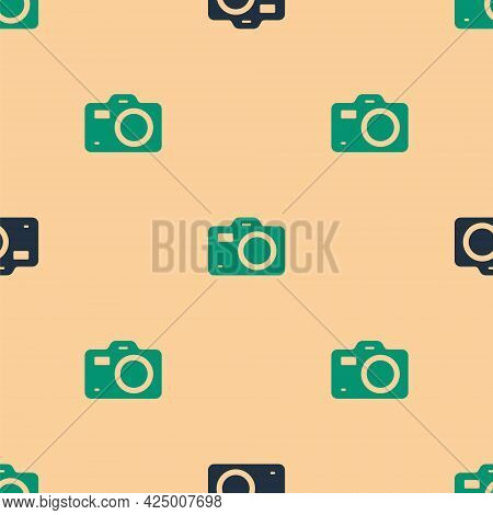 Green And Black Photo Camera Icon Isolated Seamless Pattern On Beige Background. Foto Camera. Digita
