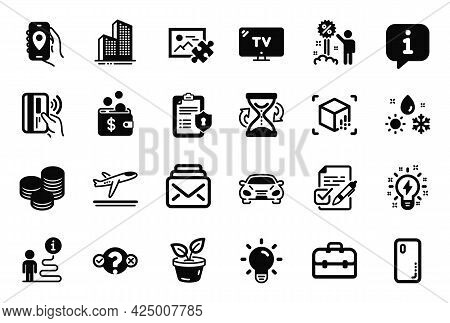 Vector Set Of Business Icons Related To Puzzle Image, Smartphone Cover And Privacy Policy Icons. Car