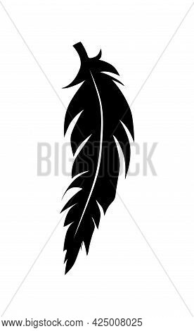 Illustration Of An Old Feather. Feather Silhouette. Retro Image Of Letter With Feather Icon.